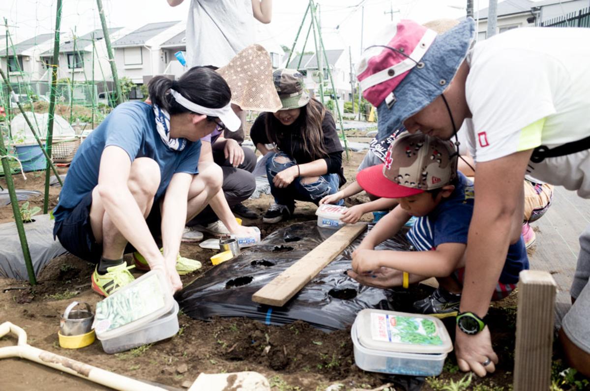 東京で貸し農園(シェア畑)で夏野菜の植え付け
